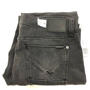 Hudson Mens Gray Byron Straight Jeans Size 36